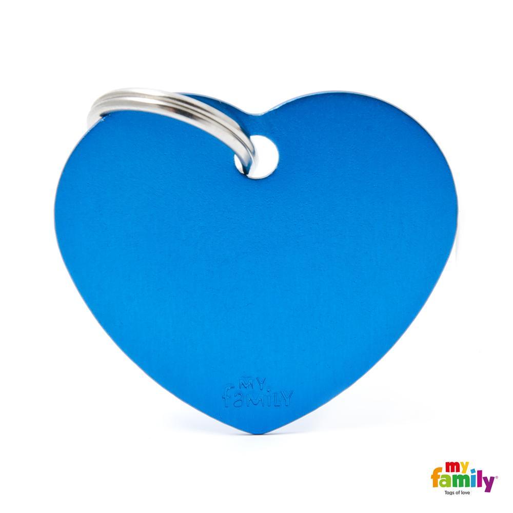 Placa Corazón Grande Aluminio Azul