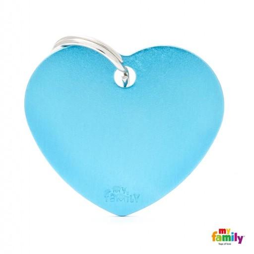 Placa Corazón Grande Aluminio Celeste