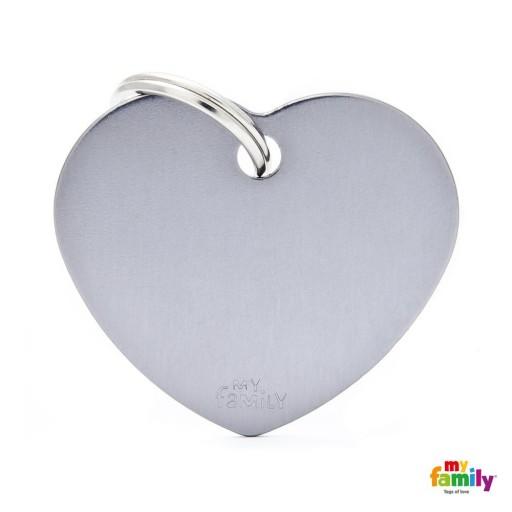 Placa Corazón Grande Aluminio Gris
