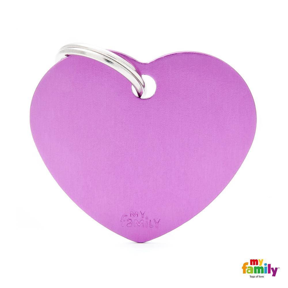 Placa Corazón Grande Aluminio Morado
