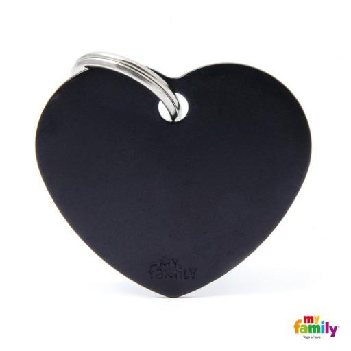 Placa Corazón Grande Aluminio Negro