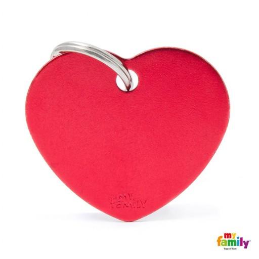 Placa Corazón Grande Aluminio Rojo