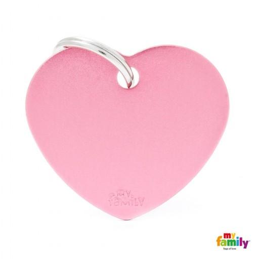 Placa Corazón Grande Aluminio Rosa