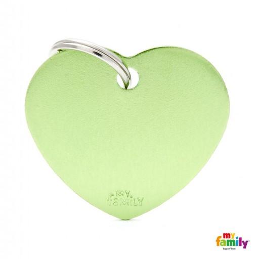 Placa Corazón Grande Aluminio Verde