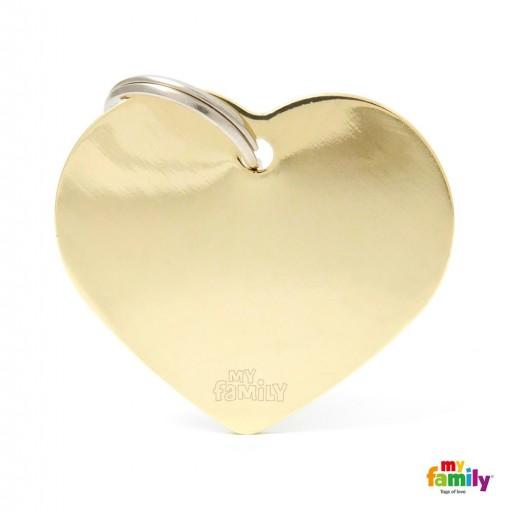Placa Corazón Grande Latón Dorado