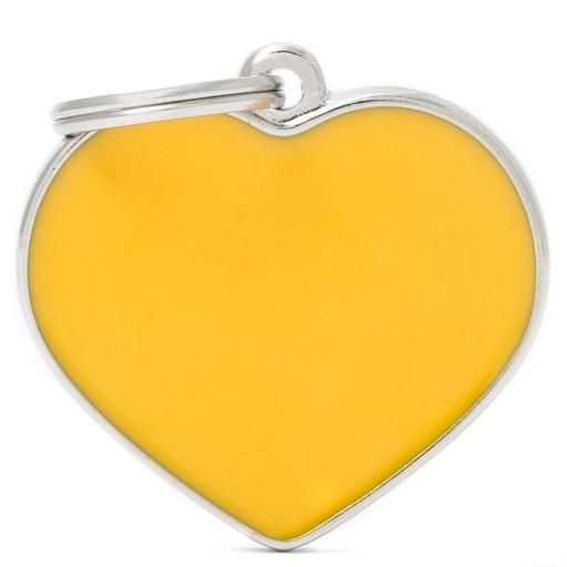 Placa Corazón Grande Amarillo Handmade