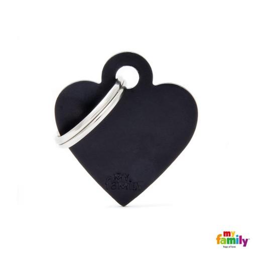 Placa Corazón Pequeño Aluminio Negro