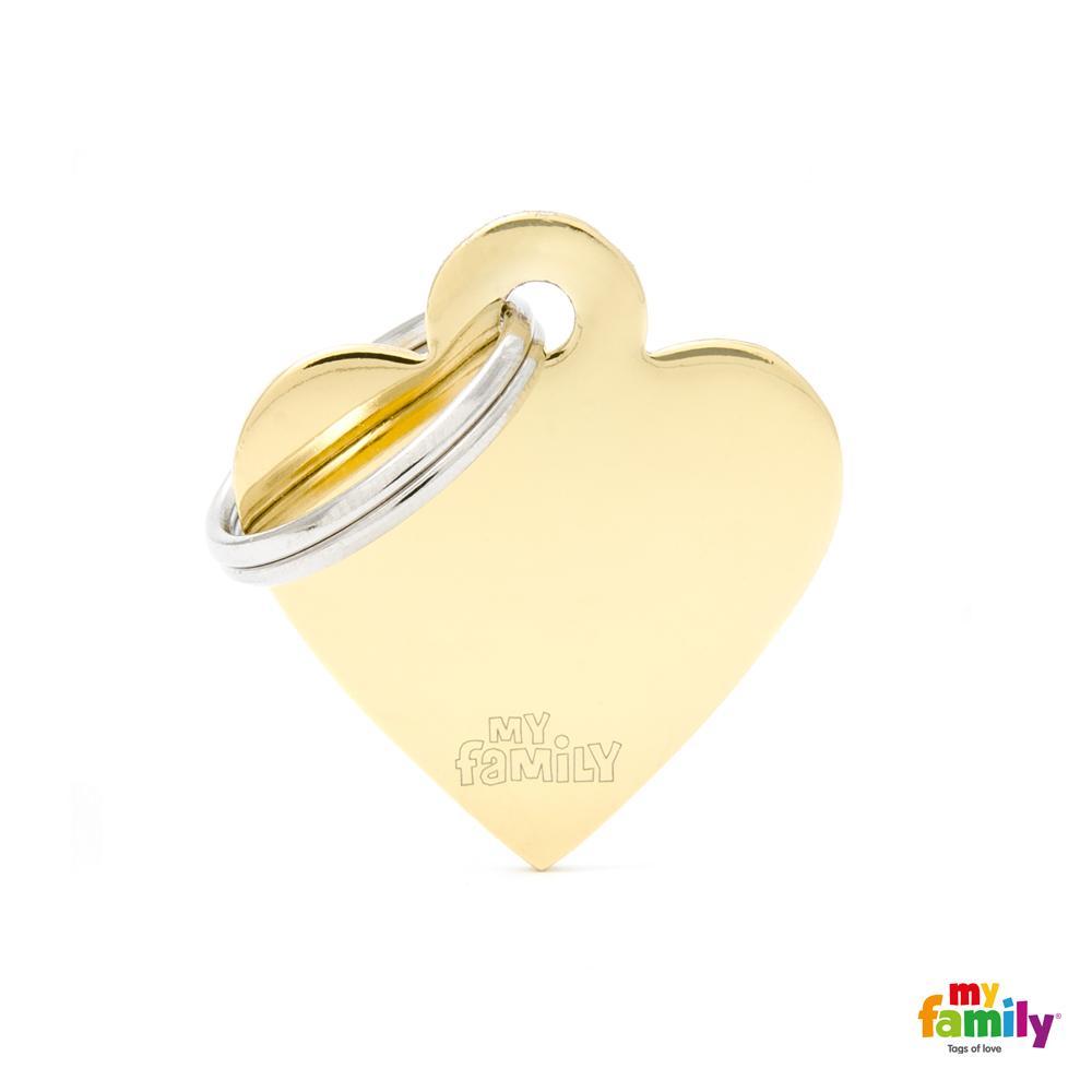 Placa Corazón Pequeño Latón Dorado