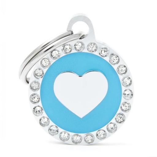 Placa Corazón Azul Círculo con Brillantes