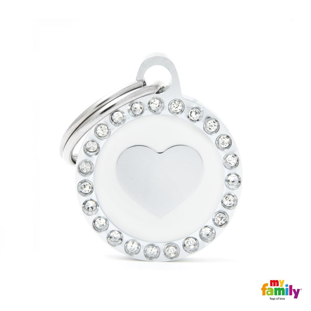 Placa Corazón Blanco Círculo con Brillantes