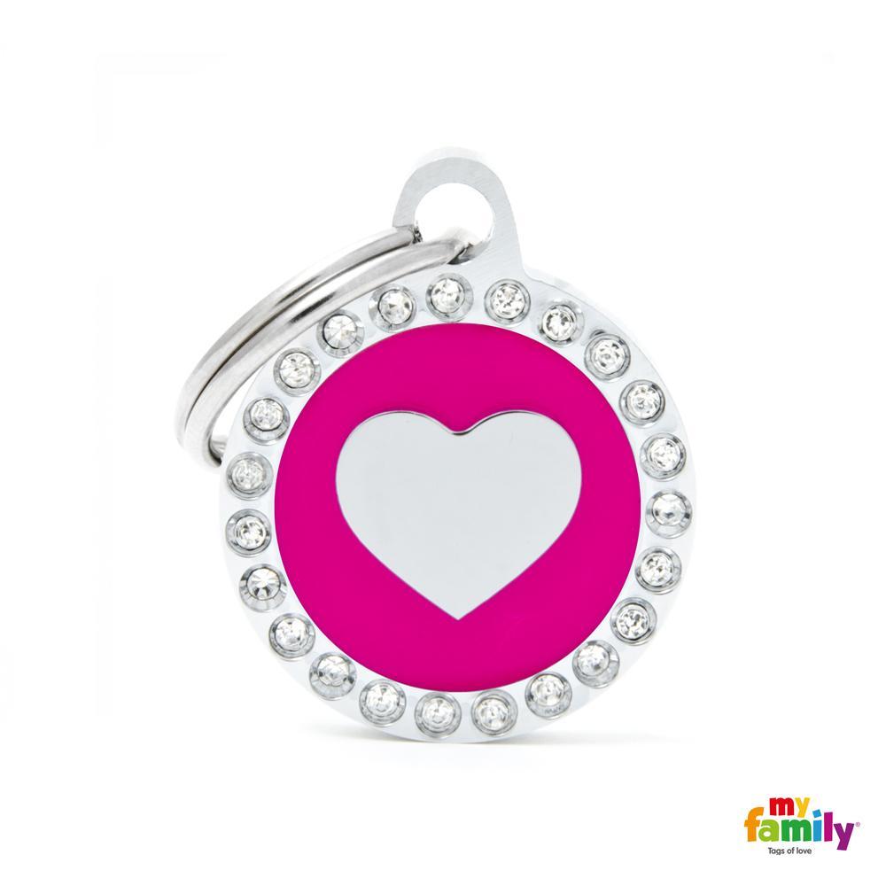 Placa Corazón Fucsia Círculo con Brillantes