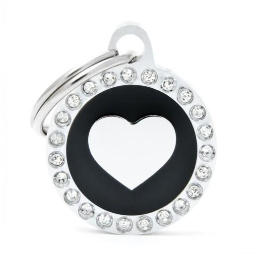 Placa Corazón Negro Círculo Strass