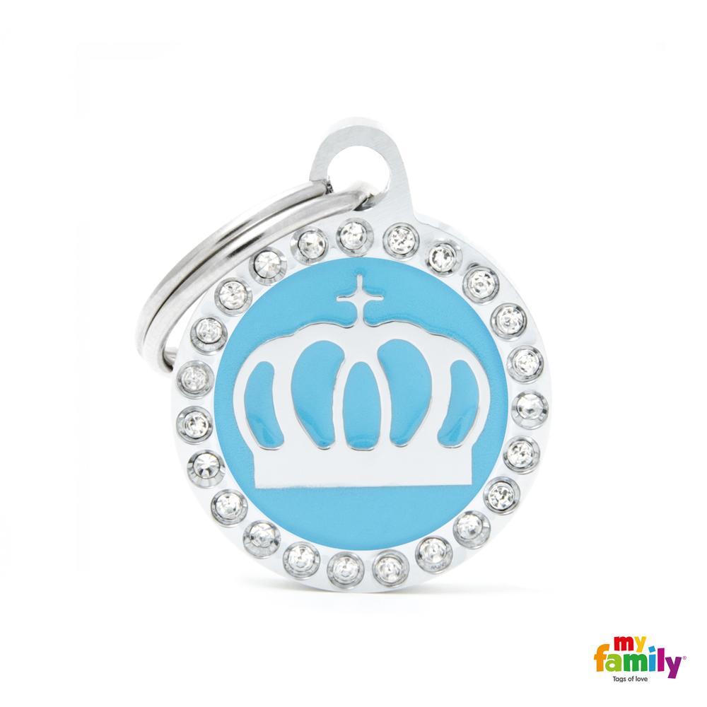 Placa Corona Azul Círculo con Brillantes