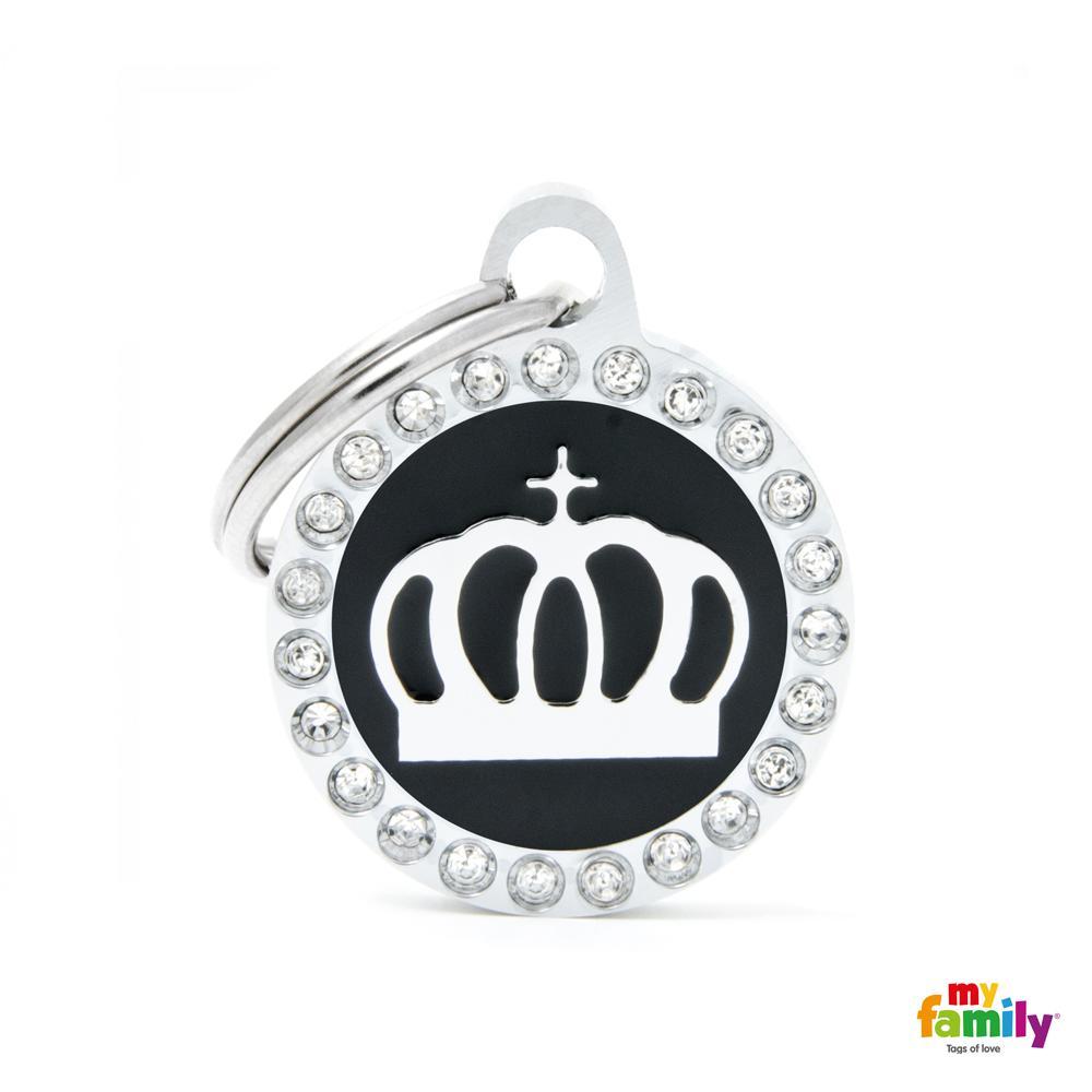 Placa Corona Círculo Negro con Brillantes
