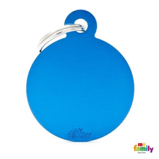 Placa Circulo Grande Aluminio Azul