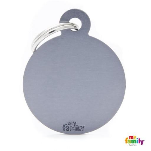 Placa Circulo Grande Aluminio Gris