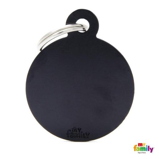 Placa Circulo Grande Aluminio Negro