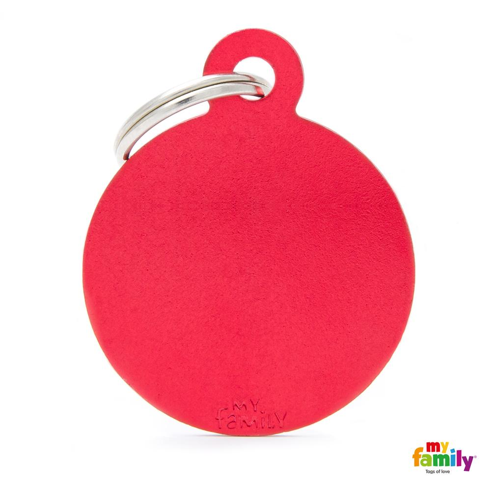 Placa Circulo Grande Aluminio Rojo