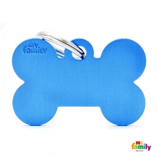 Placa Hueso Grande Aluminio Azul