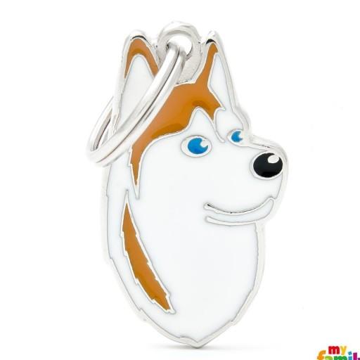 Placa Husky Siberiano Blanco y Marrón