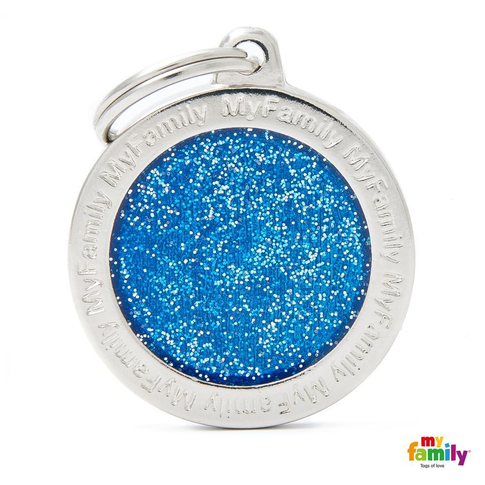 Placa Círculo Grande Azul con Purpurina