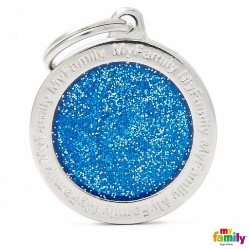 Placa Círculo Grande Azul con Purpurina [0]