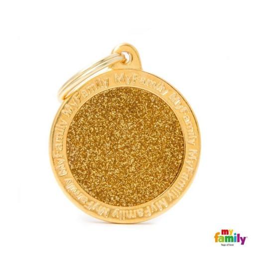 Placa Círculo Grande Dorado con Purpurina