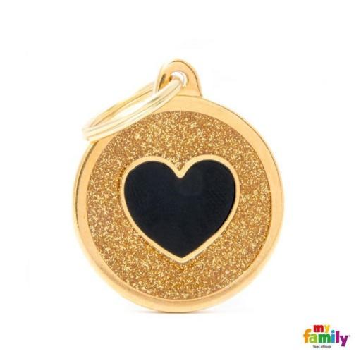 Placa Círculo Grande Dorado con Purpurina Corazón Negra