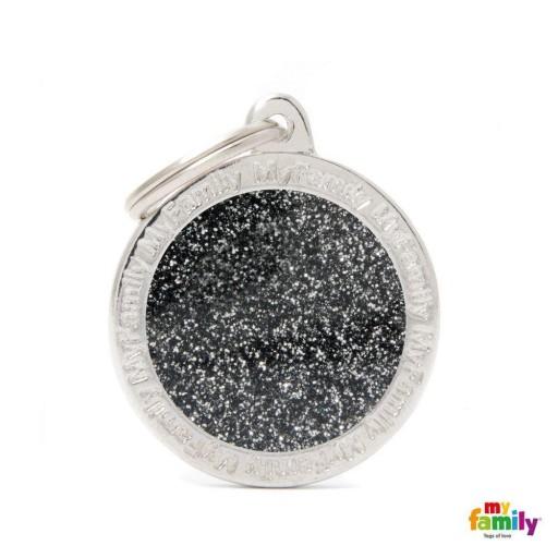 Placa Círculo Grande Negro con Purpurina