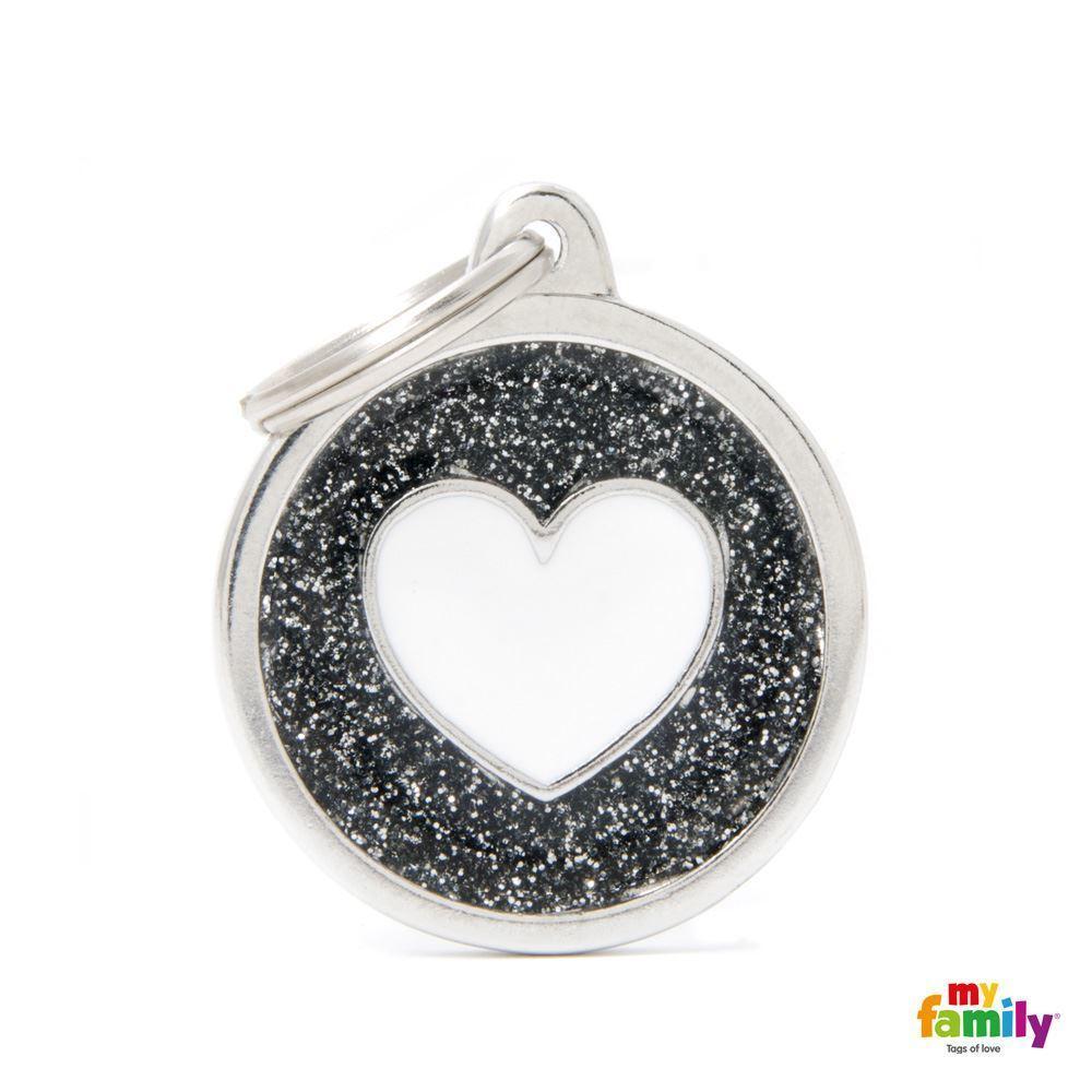 Placa Círculo Grande Negro con Purpurina Corazón Blanco