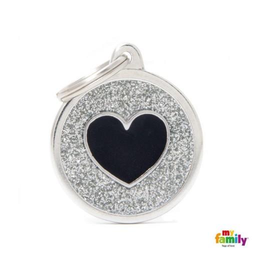 Placa Círculo Grande Plateado con Purpurina Corazón Negro