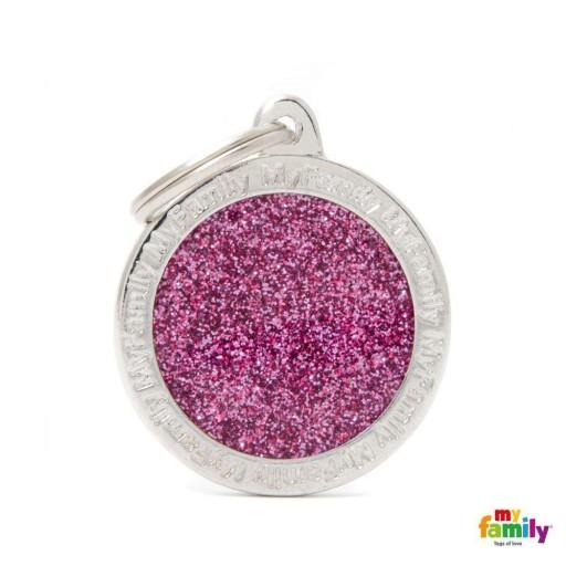Placa Círculo Grande Rosa con Purpurina