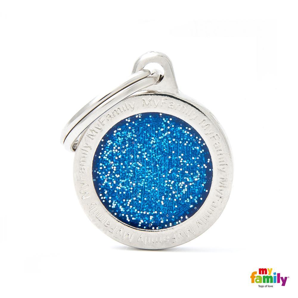 Placa Círculo Pequeño Azul con Purpurina