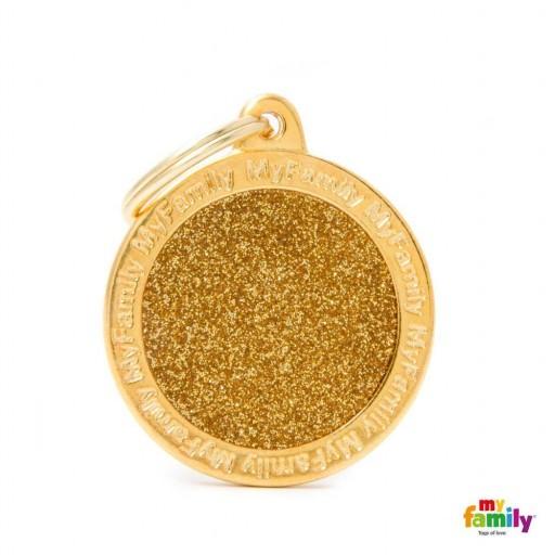 Placa Círculo Pequeño Dorado con Purpurina
