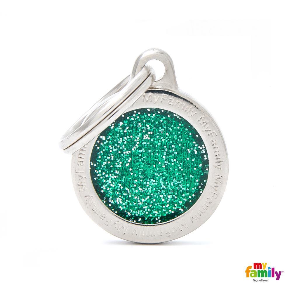 Placa Círculo Pequeño Verde con Purpurina