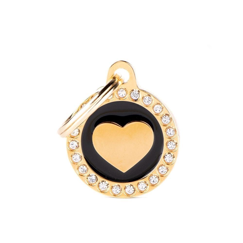 Placa Corazón Dorado Círculo Negro con Brillantes
