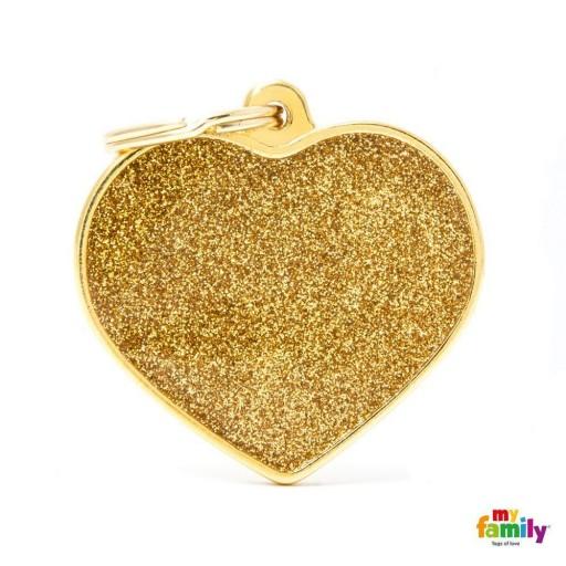 Placa Corazón Grande Dorado con Purpurina