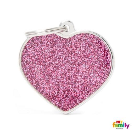 Placa Corazón Grande Rosa con Purpurina