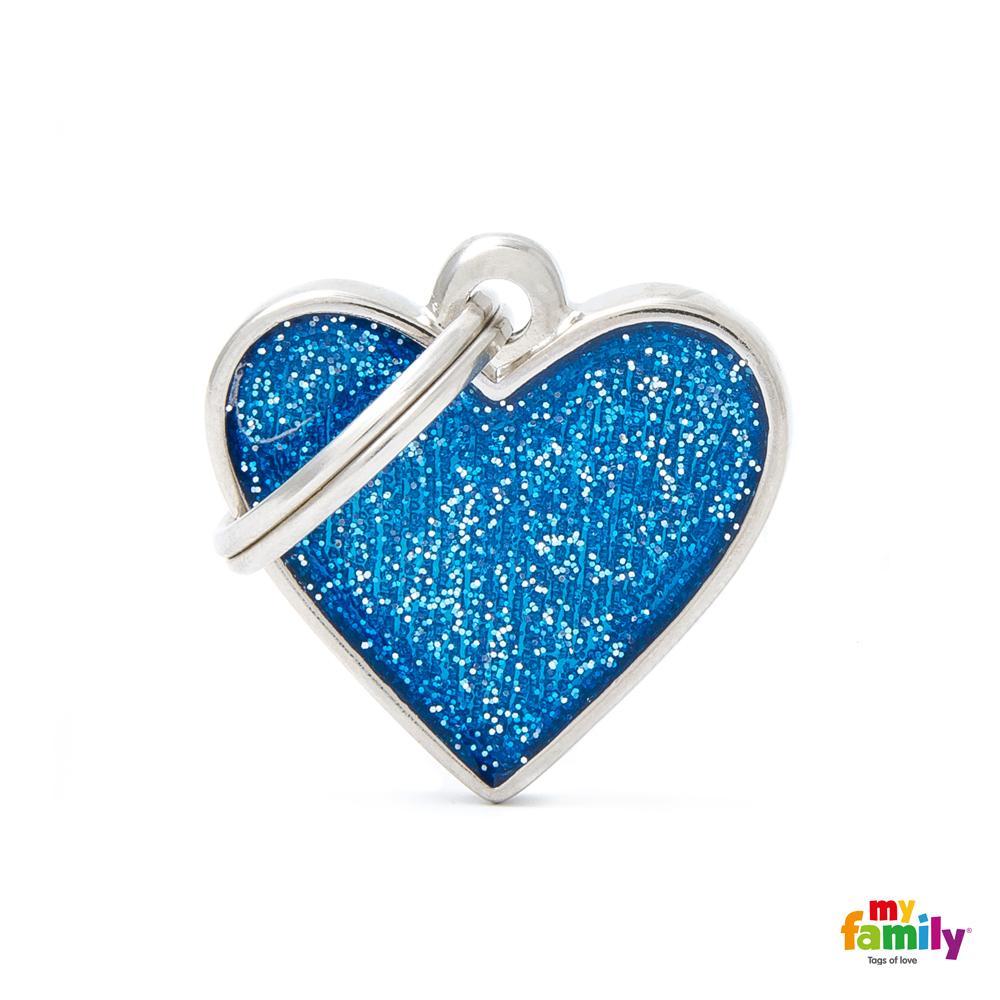 Placa Corazón Pequeño Azul con Purpurina