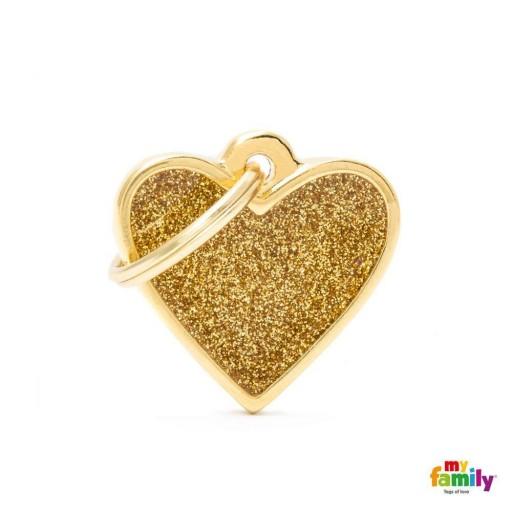 Placa Corazón Pequeño Dorado con Purpurina