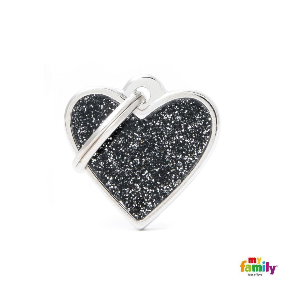 Placa Corazón Pequeño Negro con Purpurina