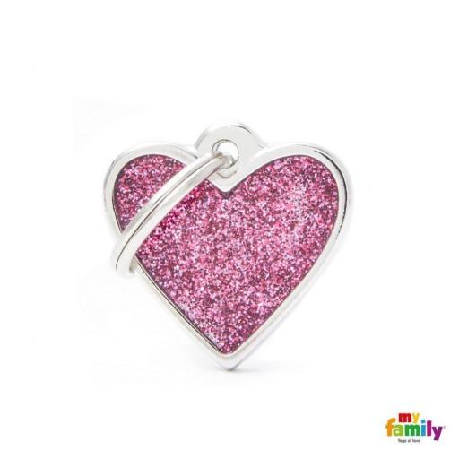 Placa Corazón Pequeño Rosa con Purpurina