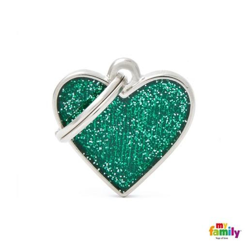 Placa Corazón Pequeño Verde con Purpurina