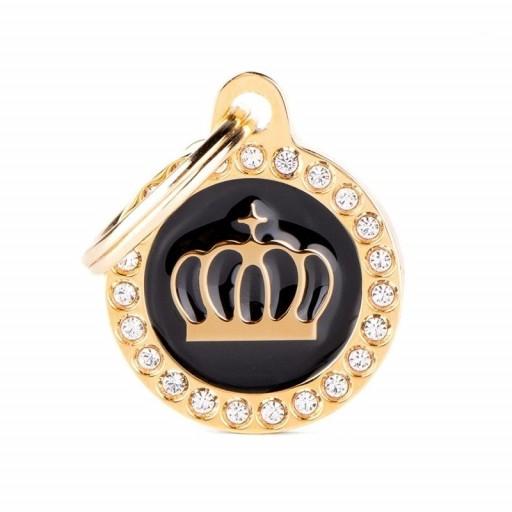 Placa Corona Dorada Círculo Negro con Brillantes