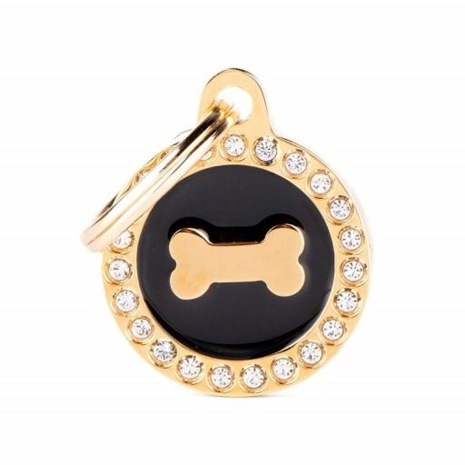 Placa Hueso Dorado Círculo Negro con Brillantes