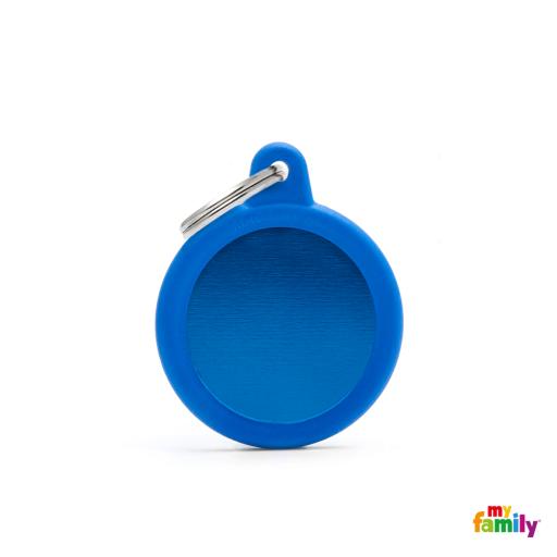 Placa Hushtag Círculo Aluminio Azul Goma Azul