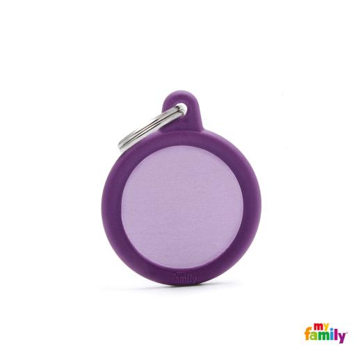 Placa Hushtag Círculo Aluminio Violeta Goma Violeta