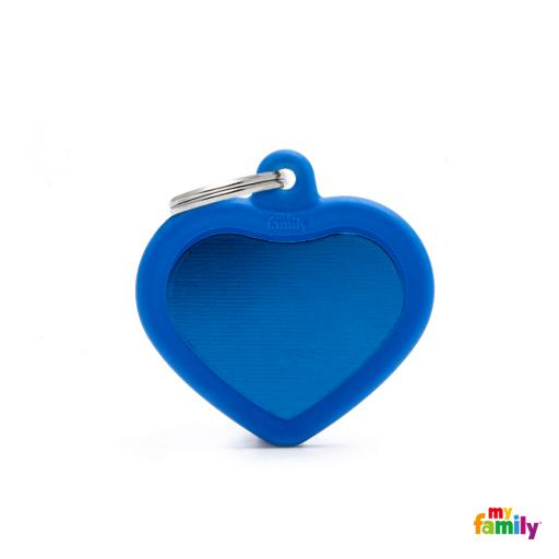 Placa Hushtag Corazón Aluminio Azul Goma Azul