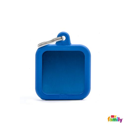 Placa Hushtag Cuadrado Aluminio Azul Goma Azul