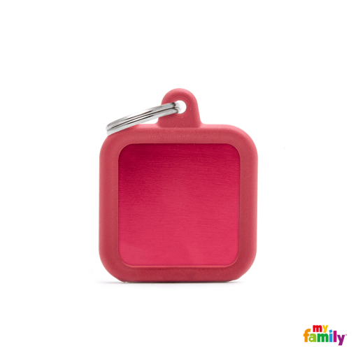 Placa Hushtag Cuadrado Aluminio Rojo Goma Rojo